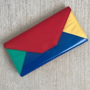 VINTAGE Red Blue Colorblock Clutch/Crossbody Bag